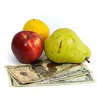 fruits and money