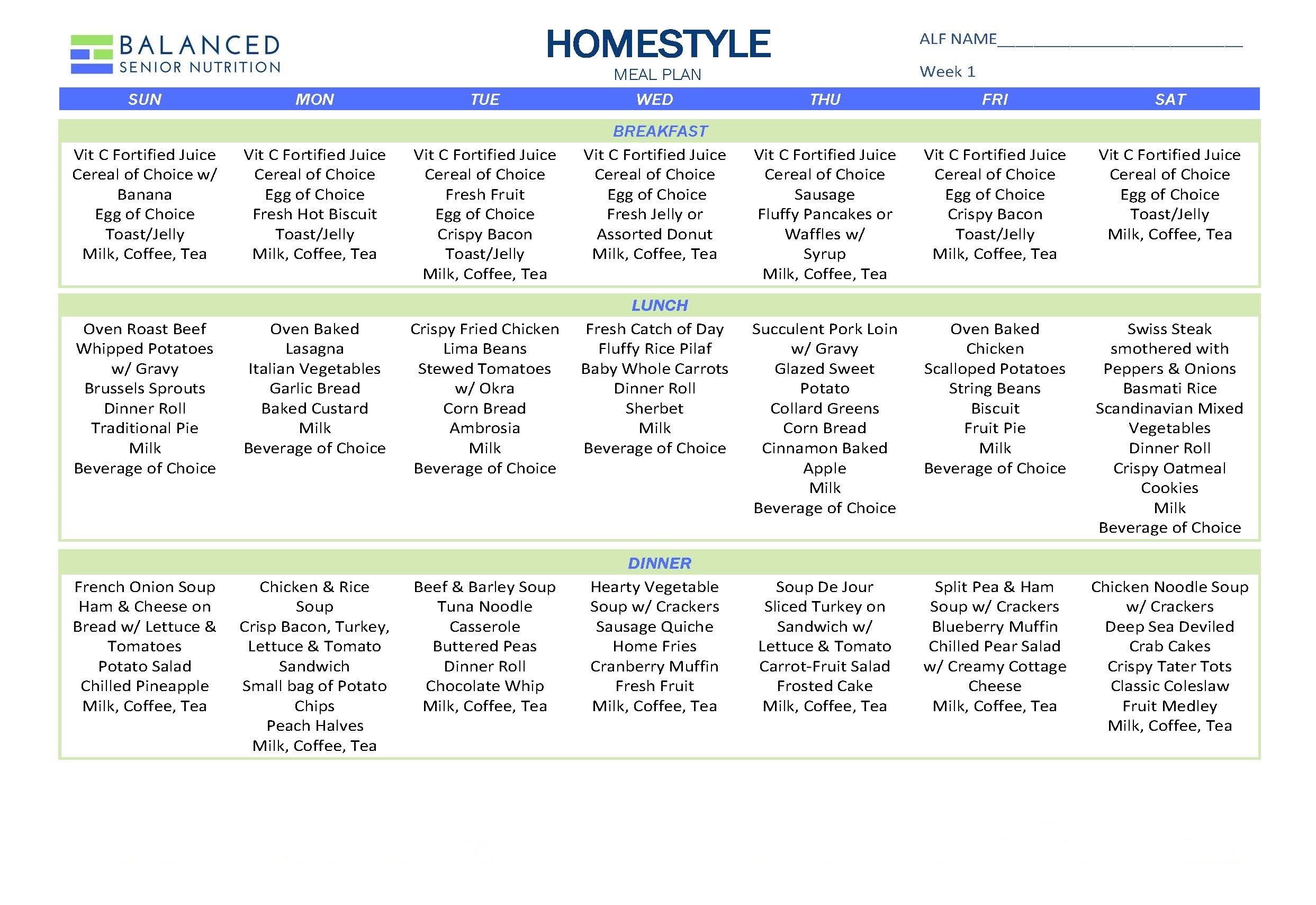 Home Style Meal Plan