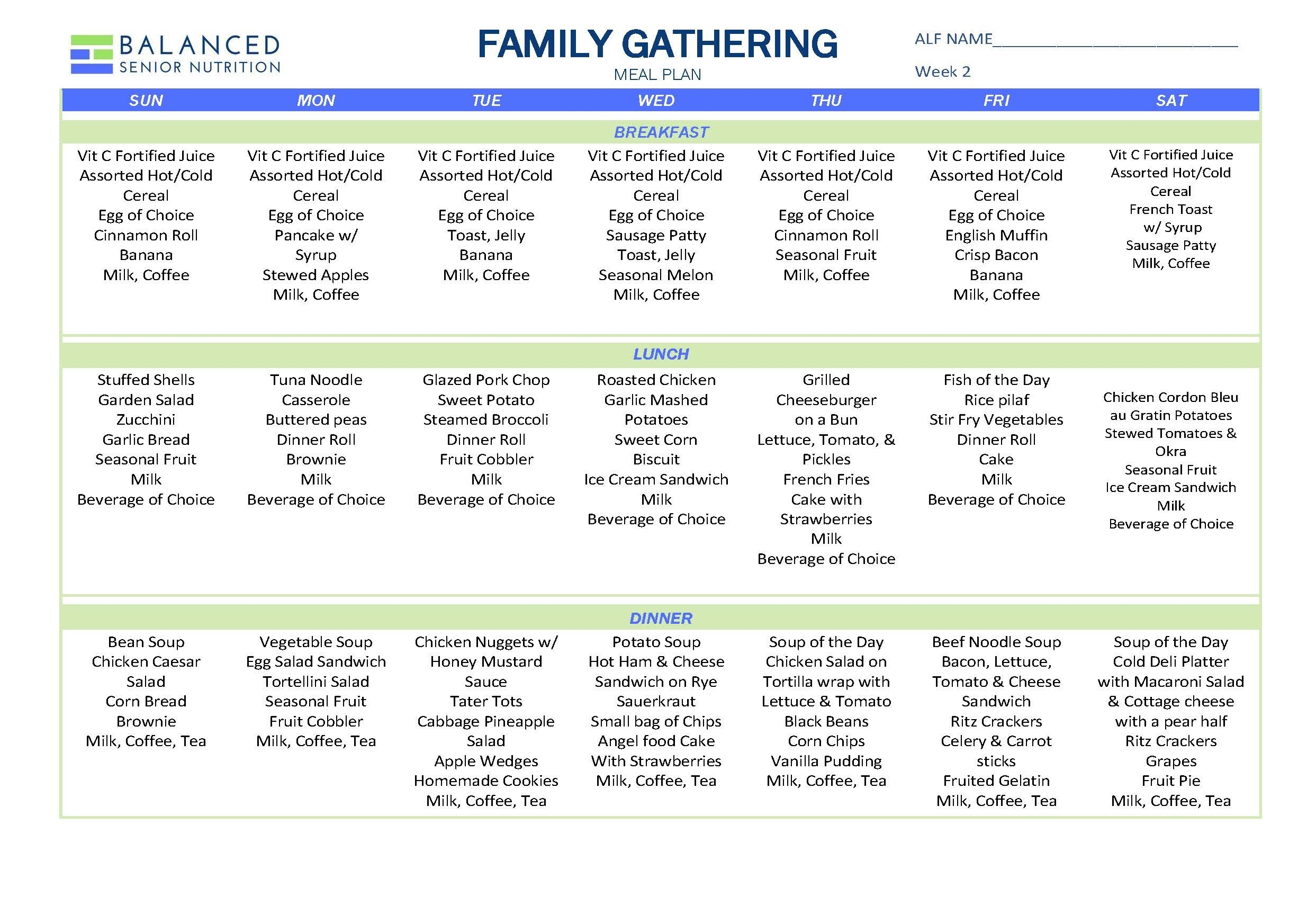Family Gathering Menu