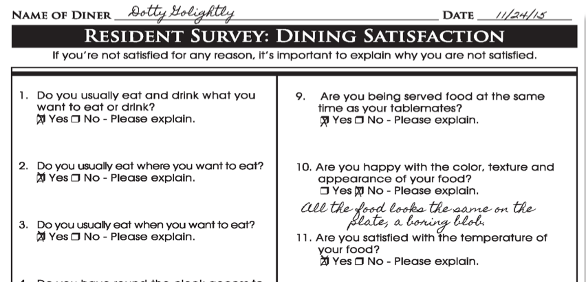 Resident Dining Satisfaction Form from BSN Solutions